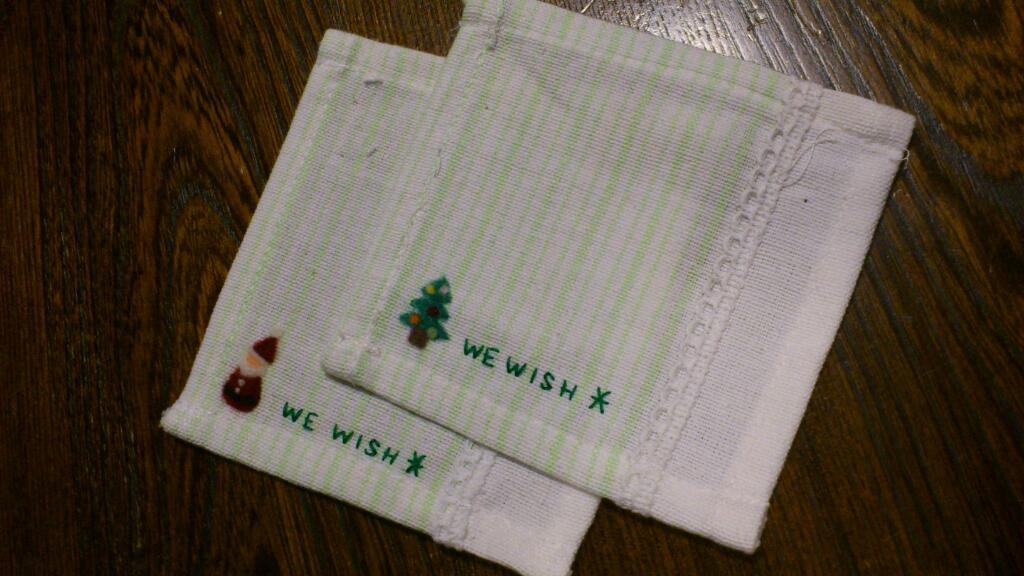 羊毛刺繍のコースター